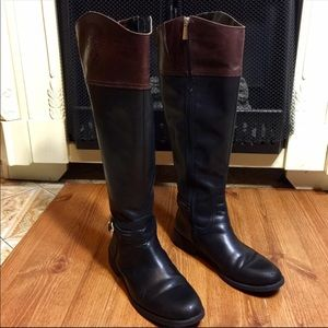 Vince Camuto Brown & Black Logo Riding Boots